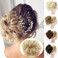X-LARGE Messy Bun Hair Piece Scrunchie Updo Wrap Hair Extensions as Human Blonde