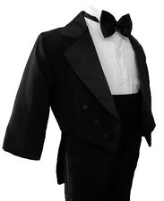 Boy Black Tail Tuxedo Tux Suit Size From Baby to Teen