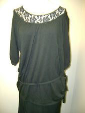 Dialogue Stretch Elbow Sleeve Top with Lace Yoke Black