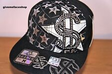 DOLLAR FLAT FEAK CAPS, BLING FITTED HAT, HIP HOP