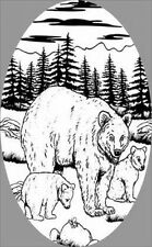 BEAR SCENE static cling etched glass window decal