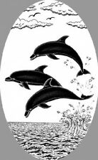 DOLPHIN JUMPING static cling etched glass window decal
