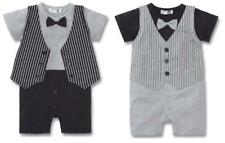 BABY BOY PARTY TUXEDO SUIT VEST BOWTIE ONE PIECE  3-24M