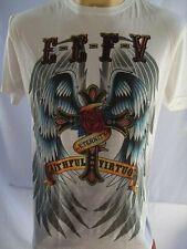 Emperor Eternity Winged Cross Tattoo T-shirt White M L