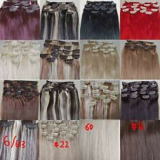 """AAA+ 12""""~22"""" Remy Human Hair 15pcs Clips In Extensions 75g Straight More Colors"""