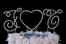 2 Renaissance Monogram Crystal Wedding Cake Topper Letters with Heart