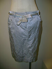 Eileen Fisher Silver Steel Satin Knee Length Skirt w/Tie NWT