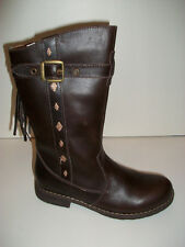 Girls Winter Boots Billowy Nally Brown Leather Size Junior 10-3 Free P&P