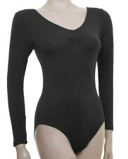 Plus Size Larger Ladies Cotton Dance Leotard Long Sleeve Gathered Bust (#KERRY)
