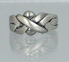 4 Band Sterling Silver Classic Antique Finished Puzzle Ring