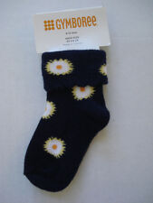 GYMBOREE GIRLS NAVY BLUE AND FLOWER SOCKS 6-12 MOS NWT