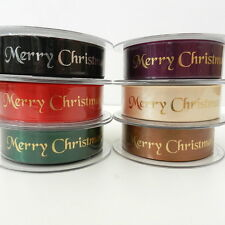 per 2 metres green or red Merry Christmas satin ribbon 10mm & 25mm