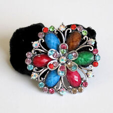 Flower Rhinestone Marble Ponytail Holder Color Hair Band PT5