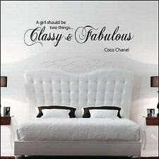 "Wall Sticker ""A Girl Should be Classy & Fabulous Coco Chanel"" Vinyl Wall Art"