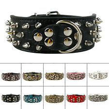 2inch Wide Spiked Studded Leather Dog Collars with D ring for Medium Large Dogs