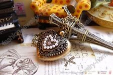 Fashion retro bronze pearl heart love hollow out Lockets necklace pendant