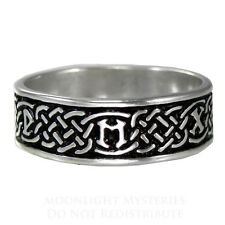 Celtic Knot Norse Rune Love Ring SS Sterling Silver Irish Wedding Band sz 4-13