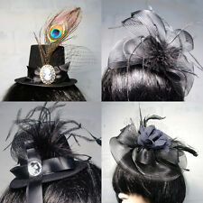 Black Party Clip On Hat Costume Ball Retro Bird Cage Mesh Bow Rose Ribbon