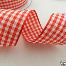 per 2  metres red & white gingham ribbon 5 widths Berisfords colour 15 FREEPOST
