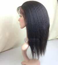"kinky straight indian remy human hair lace front wigs 8""-24"" 1# 1b# 2# 4# 1b-30#"