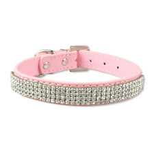 Pink Bling Rhinestone Dog Leather Collars Puppy Cat Gifts Full Diamante Collar