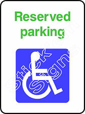 Disabled reserved parking DDA0011 Disabled stickers & signs
