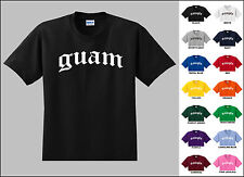 Country of Guam Old English Font Vintage Style Letters T-shirt