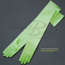 "23"" Long Shiny Stretch Satin Dress Gloves Opera Length 16BL - Various Colors"