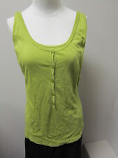 Three Dots Cotton Knit Double Front Henley Tank Green NWOT