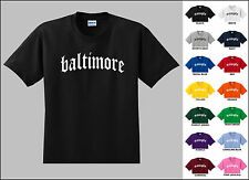 City of Baltimore Old English Font Vintage Style Letters T-shirt