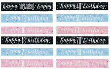 Happy Birthday Banners 16th - 70th Glitz Pink Blue Black Decorations All Here