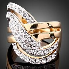 Ladies Swarovski Crystal Clear Rhinestone Cross Design Finger Rings 18k Gold GP