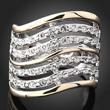 Women's Rhinestone Swarovski Crystal 7 Line Stave Melody Band 18k Gold GP Ring