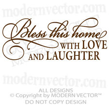 BLESS THIS HOME Quote Vinyl Wall Decal Lettering Livingroom Love and Laughter