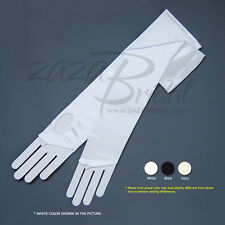 Shiny Stretch Satin Fingerless Gloves 12BL - Loop for the Second Finger