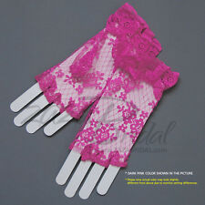 Flower Pattern Half Finger Lace Gloves w/ Ruffle Wrist Length 2BL/Various Colors