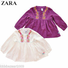 ZARA Girls Embroidered Flowers Doll Top White/Purple BNWT Size12-18M/2/3/4/5