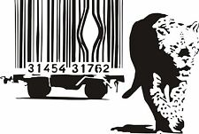 BANKSY LEOPARD WALL ART STICKER DECAL