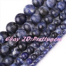 "Natural Round Multicolor Sodalite Gemstone Spacer Beads 15"" 3mm 4mm 6mm 8mm 10mm"
