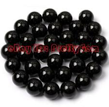 "SALE Free Shipping Round Black Agate Onyx Gemstone Beads Strand 15"" Pick Size"