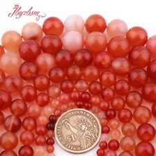 """2,4,6,8,10mm Natural Round Smooth Red Carnelian Agate Gemstone Beads Strand 15"""""""