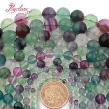 "Natural Fluorite Beads Multicolor Round Smooth Gemstone Strand 15"" 2,4,6,8,10mm"