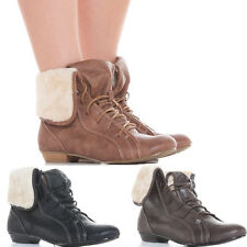Ladies Flat Low Heel Pixie Vintage Retro Style Winter Lace Up Ankle Boots Size