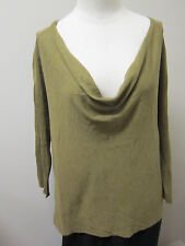 Eileen Fisher Drape Front Top with 3/4 Sleeve OLIVE NWT $158