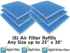 (6) Air Filter Pads / Air Cleaner Refills - Sizes up to 25 x 30 x 1