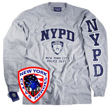 NYPD T-SHIRT GRAY LONG SLEEVE OFFICIALLY LICENSED BY NEW YORK CITY POLICE DEP