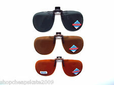 005 Foster Grant Aviator Clip-on Flip-up Sunglasses Grey Brown Amber Block BLue
