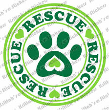 """RESCUE PAW 2 COLORS Vinyl Decal 5x5"""" dog cat adopt love k9 car wall sticker D068"""