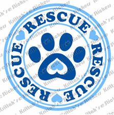 "RESCUE PAW 2 COLORS Vinyl Decal 5x5"" dog cat adopt love k9 car wall sticker D069"