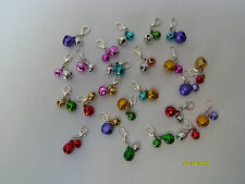 CAT COLLAR CHARM 2 X BELLS - VARIOUS COLOURS - WITH SILVER CLAW CLASP EASY FIT